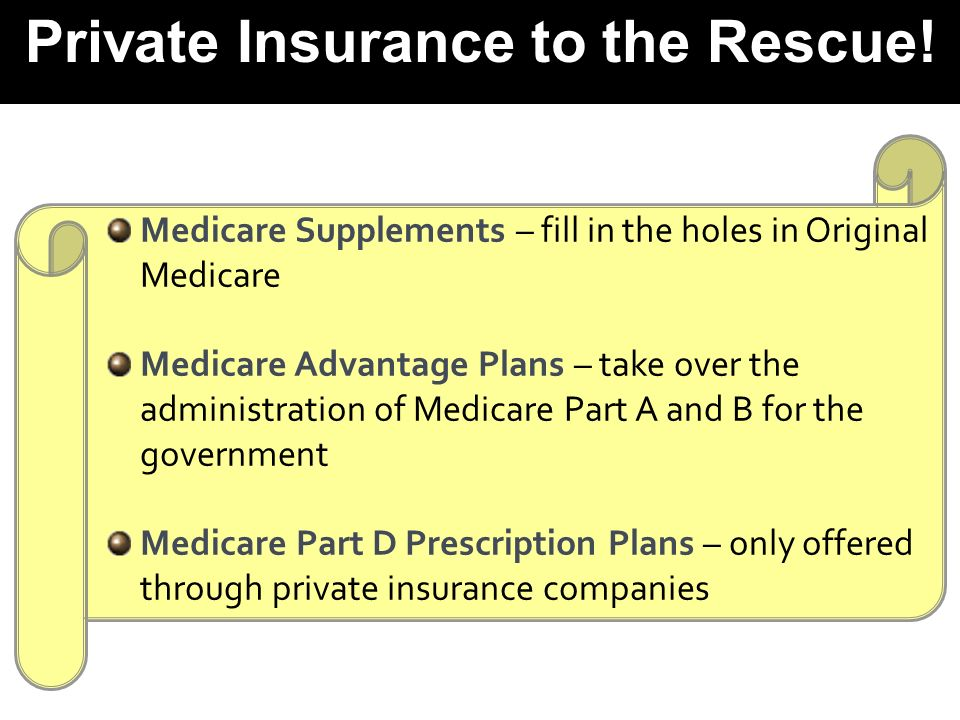 Medicare Supplements – fill in the holes in Original Medicare Medicare Advantage Plans – take over the administration of Medicare Part A and B for the government Medicare Part D Prescription Plans – only offered through private insurance companies Private Insurance to the Rescue!