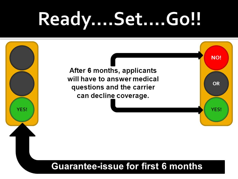 YES! NO! YES! OR Guarantee-issue for first 6 months After 6 months, applicants will have to answer medical questions and the carrier can decline cover