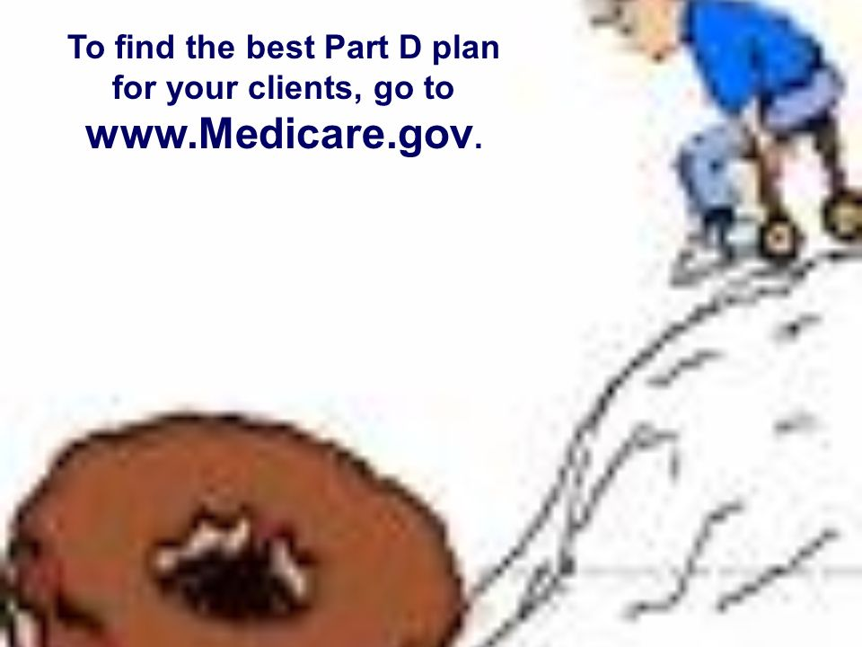 To find the best Part D plan for your clients, go to www.Medicare.gov.