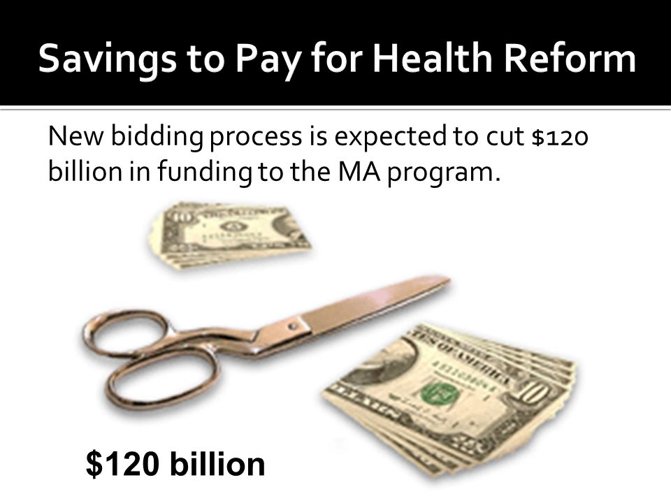 New bidding process is expected to cut $120 billion in funding to the MA program. $120 billion