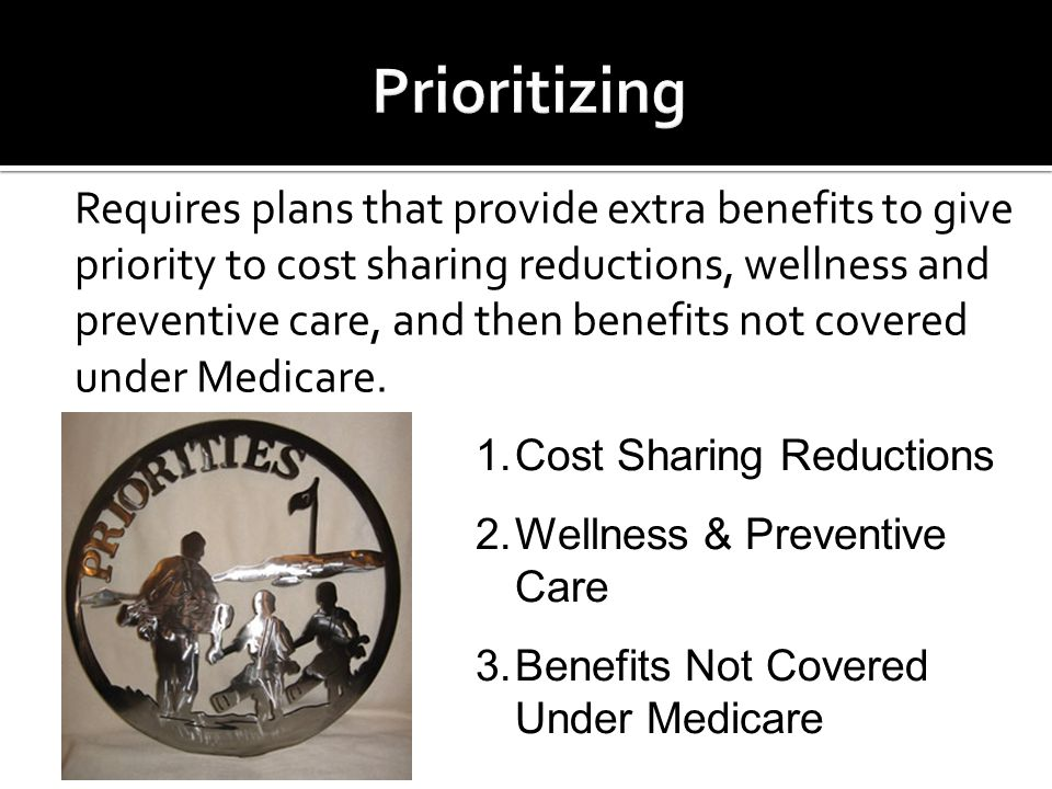 Requires plans that provide extra benefits to give priority to cost sharing reductions, wellness and preventive care, and then benefits not covered under Medicare.