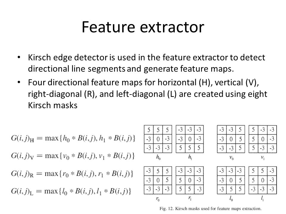 Feature extractor Kirsch edge detector is used in the feature extractor to detect directional line segments and generate feature maps.