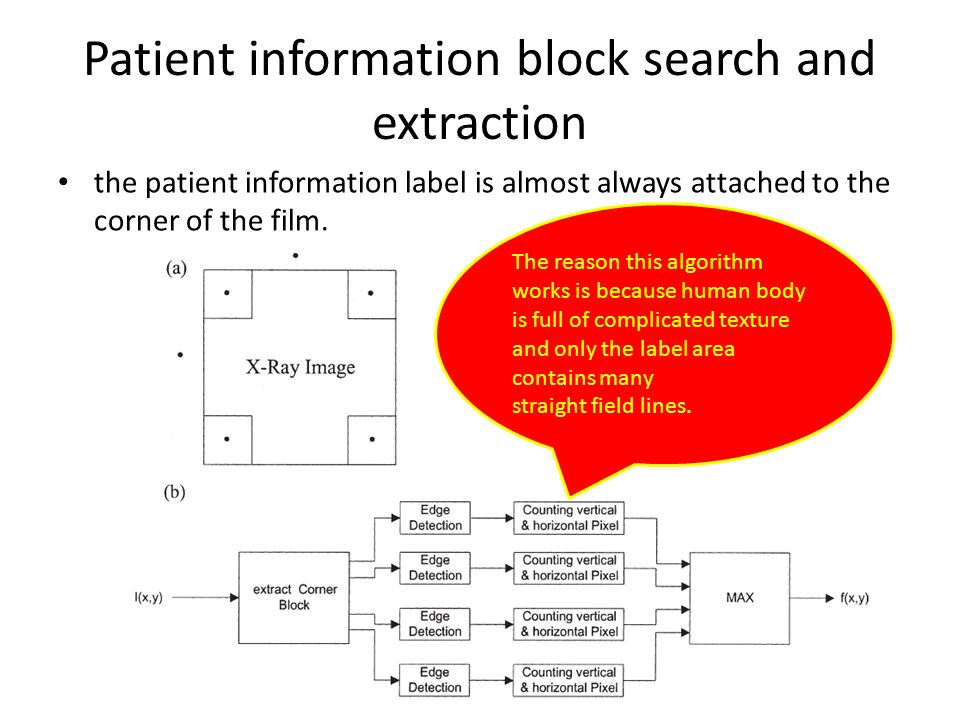 Patient information block search and extraction the patient information label is almost always attached to the corner of the film.
