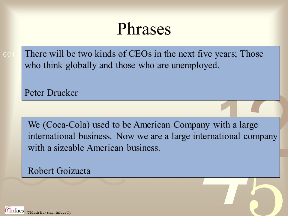 ©Matti Haverila, Infacs Oy Phrases There will be two kinds of CEOs in the next five years; Those who think globally and those who are unemployed.