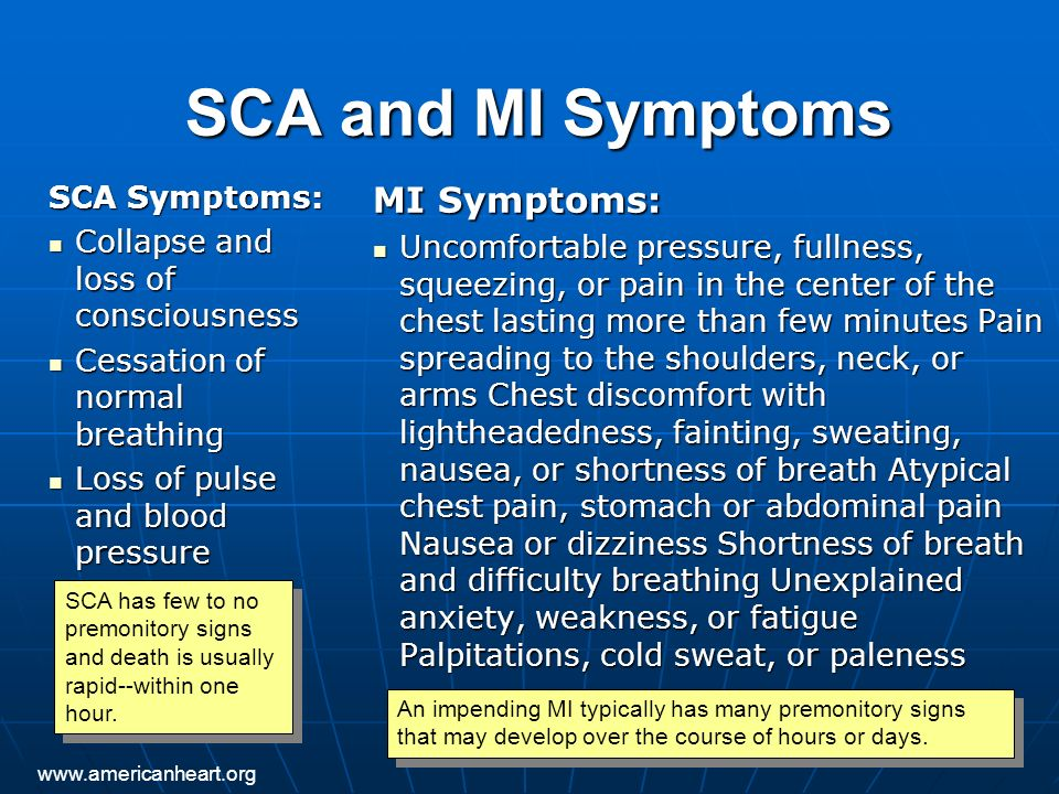 SCA and MI Symptoms SCA Symptoms: Collapse and loss of consciousness Collapse and loss of consciousness Cessation of normal breathing Cessation of nor