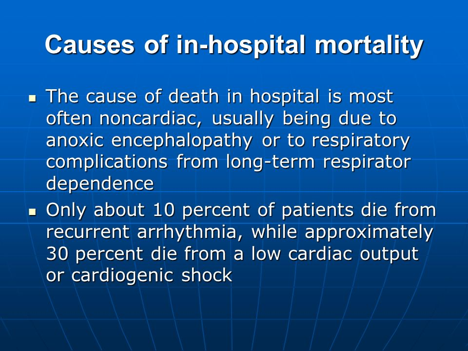 Causes of in-hospital mortality The cause of death in hospital is most often noncardiac, usually being due to anoxic encephalopathy or to respiratory