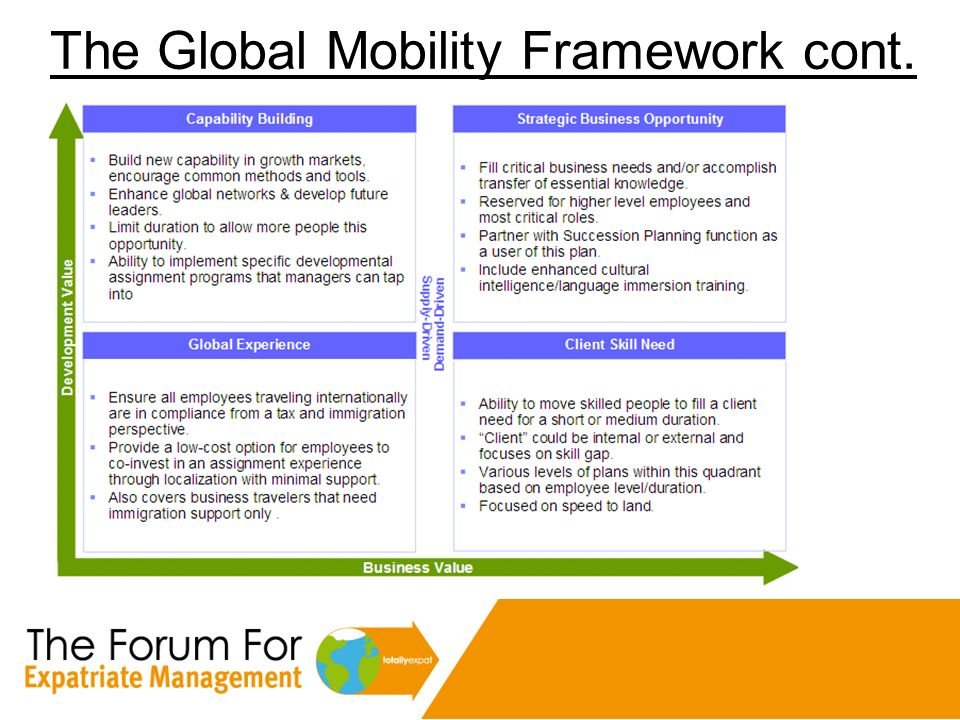 The Global Mobility Framework cont.