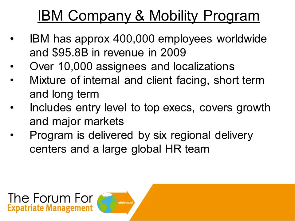 IBM Company & Mobility Program IBM has approx 400,000 employees worldwide and $95.8B in revenue in 2009 Over 10,000 assignees and localizations Mixtur