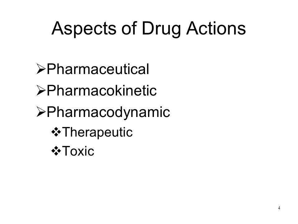 4 Pharmaceutical Pharmacokinetic Pharmacodynamic Therapeutic Toxic Aspects of Drug Actions