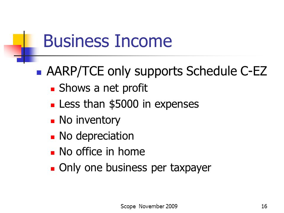 Scope November 200916 Business Income AARP/TCE only supports Schedule C-EZ Shows a net profit Less than $5000 in expenses No inventory No depreciation No office in home Only one business per taxpayer