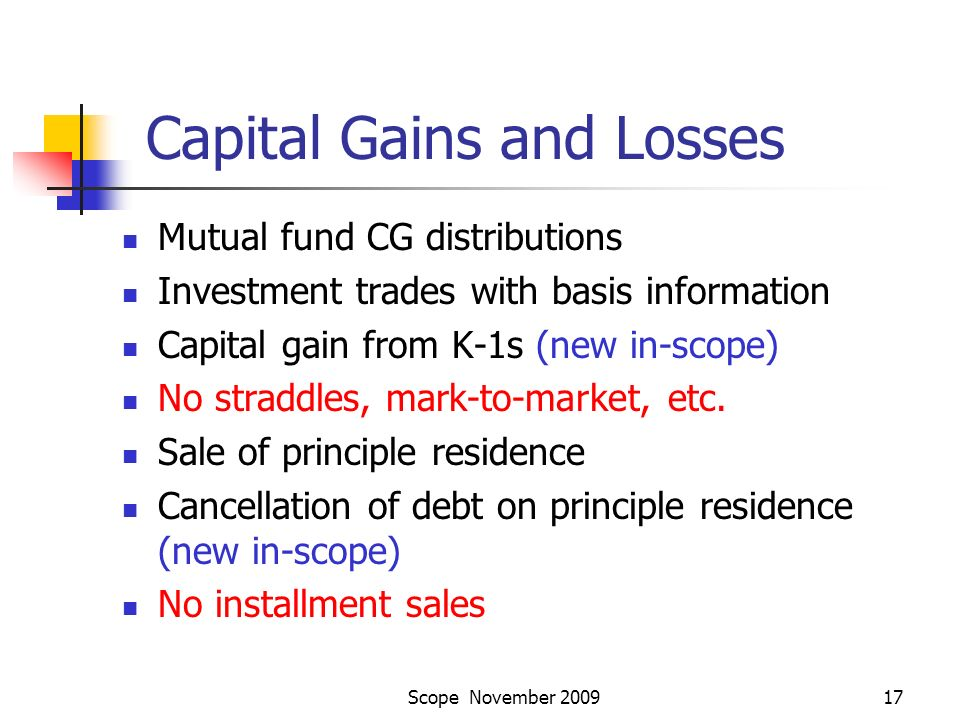Scope November 200917 Capital Gains and Losses Mutual fund CG distributions Investment trades with basis information Capital gain from K-1s (new in-scope) No straddles, mark-to-market, etc.