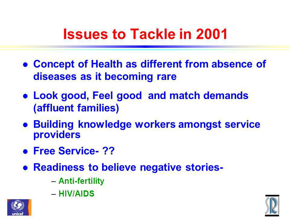 Issues to Tackle in 2001 l Concept of Health as different from absence of diseases as it becoming rare l Look good, Feel good and match demands (affluent families) l Building knowledge workers amongst service providers l Free Service- .