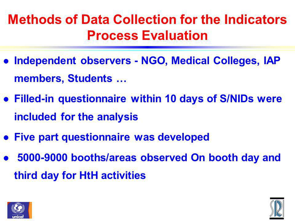 Methods of Data Collection for the Indicators Process Evaluation l Independent observers - NGO, Medical Colleges, IAP members, Students … l Filled-in