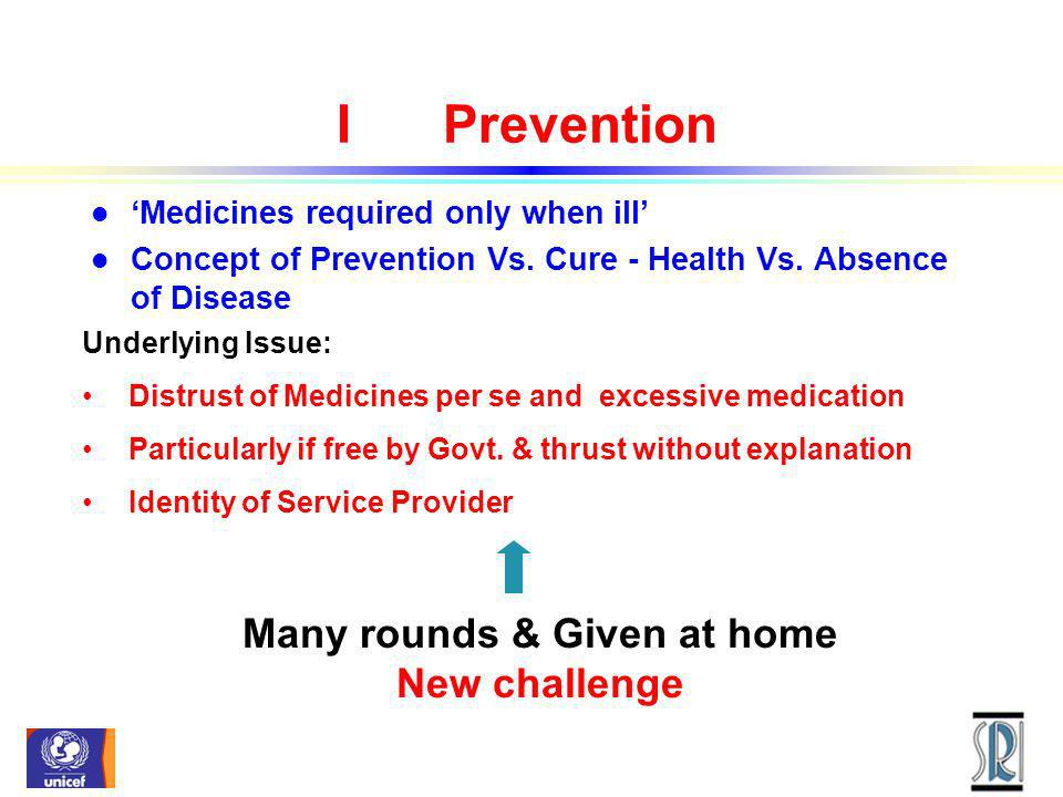 IPrevention l Medicines required only when ill l Concept of Prevention Vs. Cure - Health Vs. Absence of Disease Underlying Issue: Distrust of Medicine