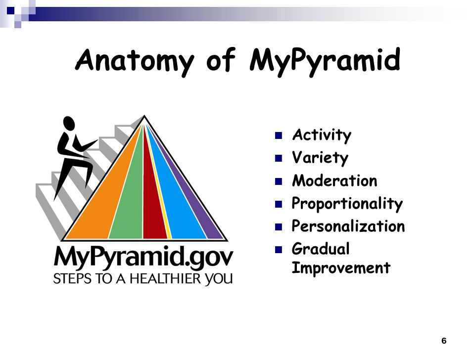 6 Anatomy of MyPyramid Activity Variety Moderation Proportionality Personalization Gradual Improvement