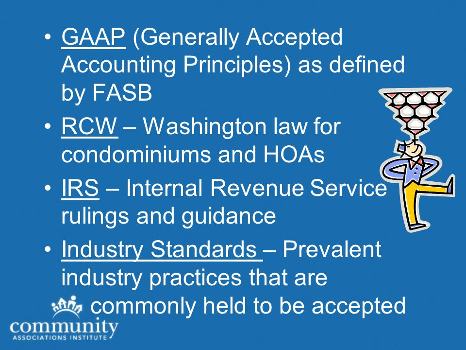 GAAP Assessments for major repairs and replacements (reserves) must be reported separately from operations.