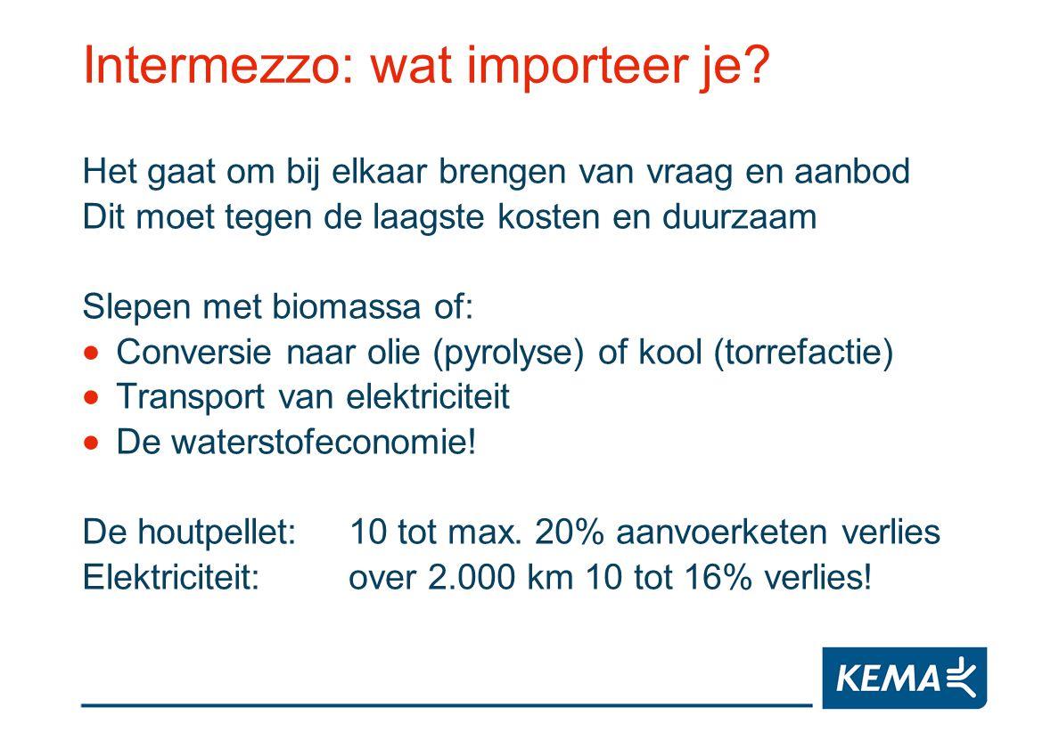 Intermezzo: wat importeer je? Het gaat om bij elkaar brengen van vraag en aanbod Dit moet tegen de laagste kosten en duurzaam Slepen met biomassa of: