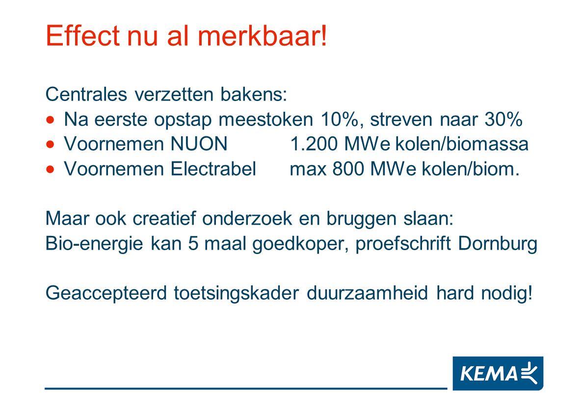 Effect nu al merkbaar! Centrales verzetten bakens: Na eerste opstap meestoken 10%, streven naar 30% Voornemen NUON1.200 MWe kolen/biomassa Voornemen E