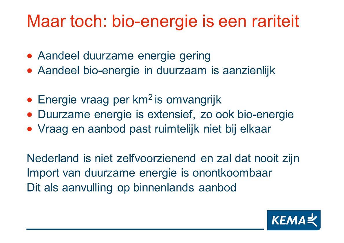 Maar toch: bio-energie is een rariteit Aandeel duurzame energie gering Aandeel bio-energie in duurzaam is aanzienlijk Energie vraag per km 2 is omvang