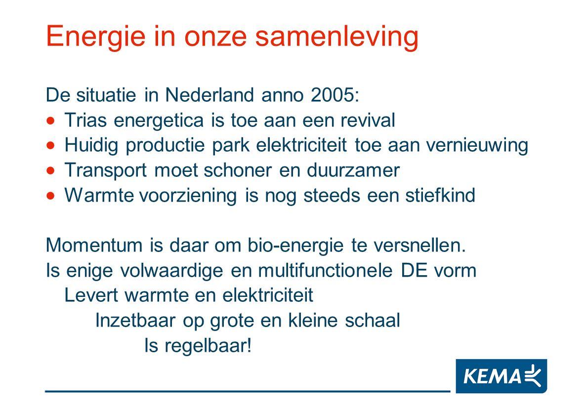 Energie in onze samenleving De situatie in Nederland anno 2005: Trias energetica is toe aan een revival Huidig productie park elektriciteit toe aan ve