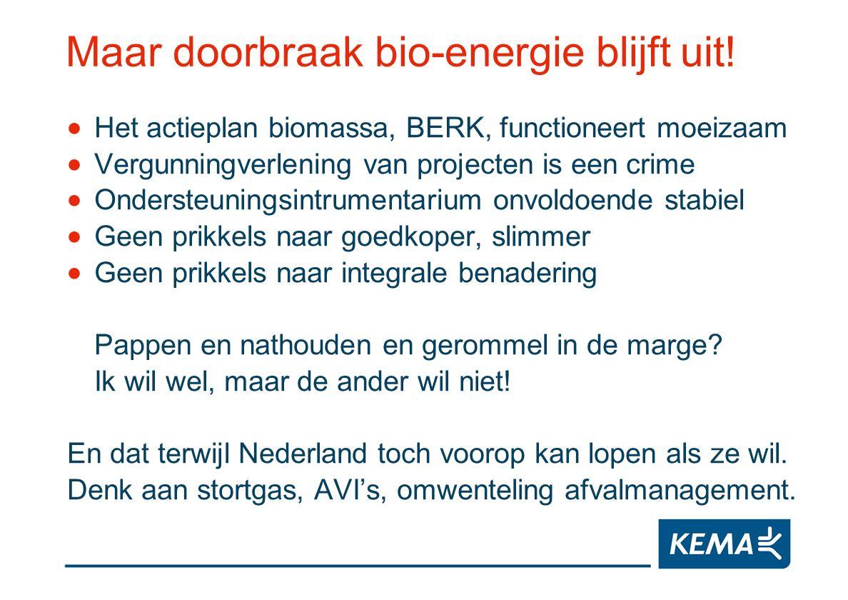 Maar doorbraak bio-energie blijft uit! Het actieplan biomassa, BERK, functioneert moeizaam Vergunningverlening van projecten is een crime Ondersteunin