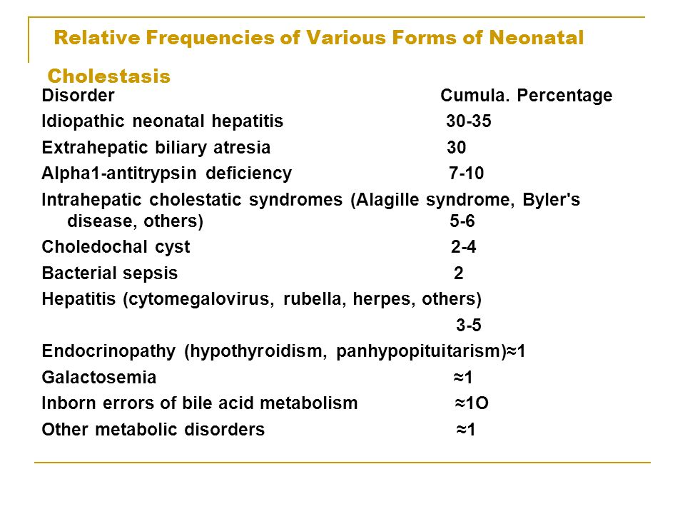 OVERVIEW OF DISORDERS OF THE BILIARY TRACT IN CHILDREN Because of the immaturity of hepatobiliary function, the number of distinct disorders that exhibit cholestatic jaundice may be greater during the neonatal period than at any other time of life Liver dysfunction in the infant, regardless of the cause, is commonly associated with bile secretory failure and cholestatic jaundice Although cholestasis may be traced to the level of the hepatocyte or the biliary apparatus, in practice there may be considerable overlap among disorders with regard to the initial and subsequent sites of injury Furthermore, another common histologic variable that often accompanies neonatal cholestasis is bile ductular paucity, or a diminution in the number of interlobular bile ducts Serial liver biopsy specimens usually show a progressive drop in the number of bile ductules per portal tract, with a varying amount of associated inflammation