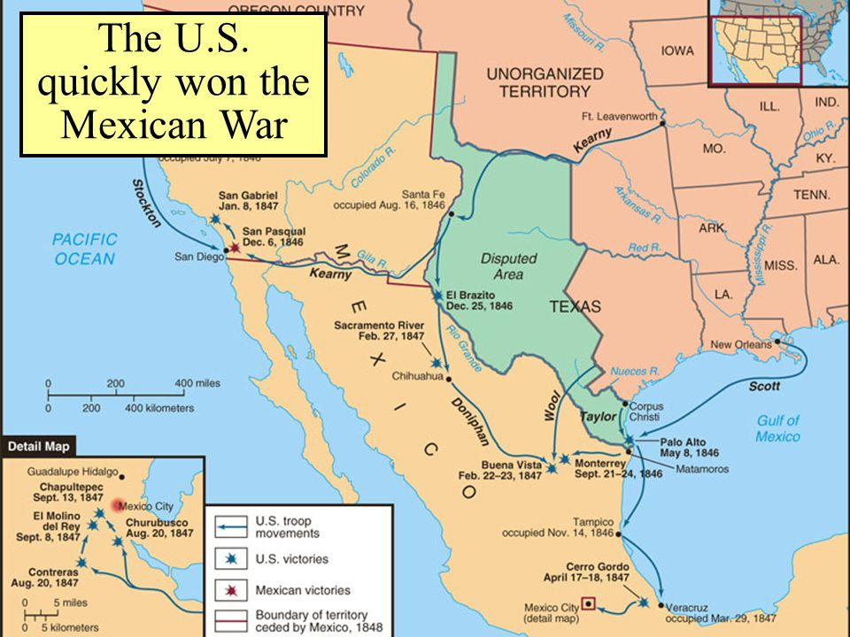 The Mexican-American War The U.S. quickly won the Mexican War