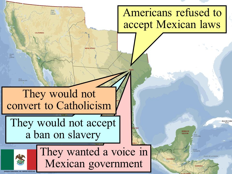 Americans refused to accept Mexican laws They wanted a voice in Mexican government They would not accept a ban on slavery They would not convert to Ca