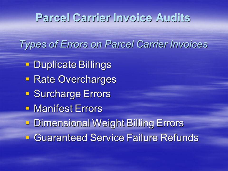 Duplicate Billings Duplicate Billings Rate Overcharges Rate Overcharges Surcharge Errors Surcharge Errors Manifest Errors Manifest Errors Dimensional