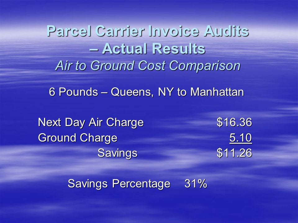 6 Pounds – Queens, NY to Manhattan Next Day Air Charge$16.36 Ground Charge 5.10 Savings$11.26 Savings Percentage 31% Parcel Carrier Invoice Audits – Actual Results Air to Ground Cost Comparison