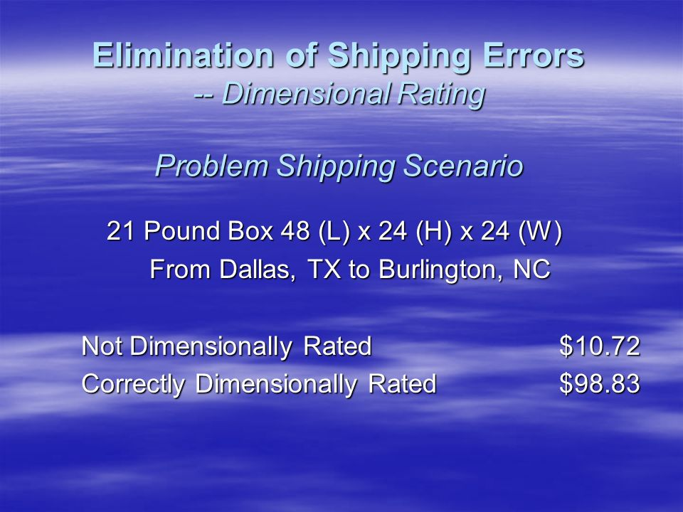 21 Pound Box 48 (L) x 24 (H) x 24 (W) From Dallas, TX to Burlington, NC Not Dimensionally Rated$10.72 Correctly Dimensionally Rated$98.83 Elimination