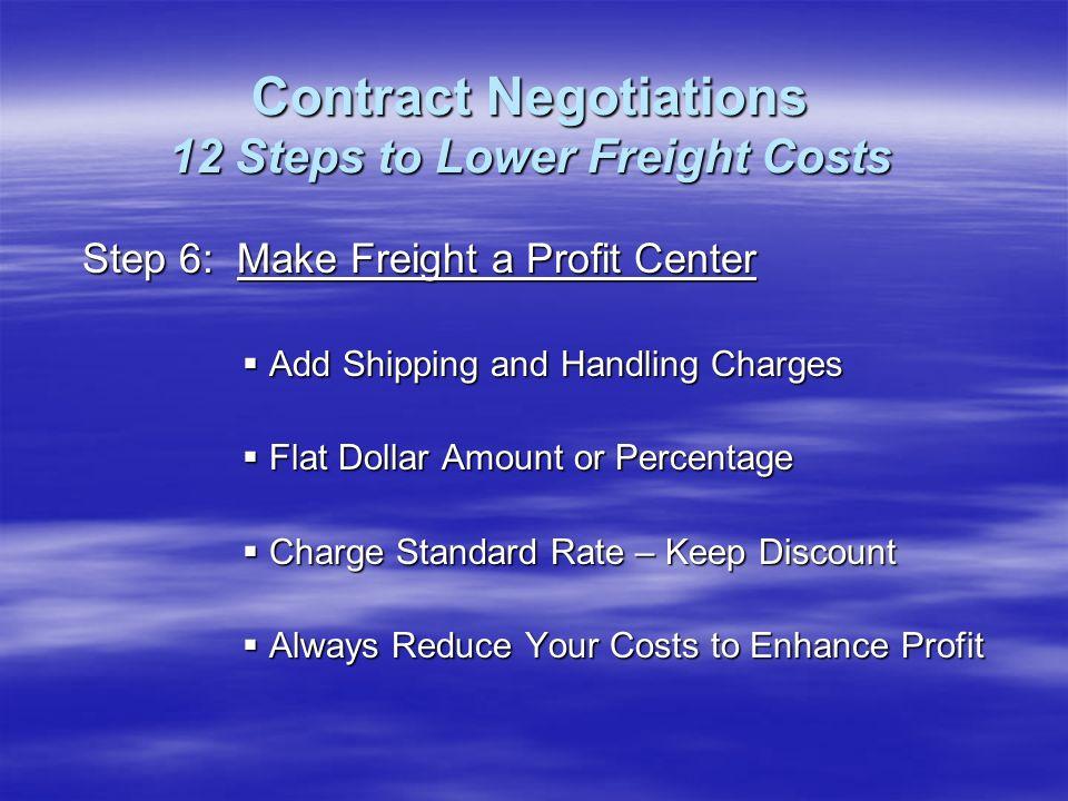 Step 6: Make Freight a Profit Center Add Shipping and Handling Charges Add Shipping and Handling Charges Flat Dollar Amount or Percentage Flat Dollar