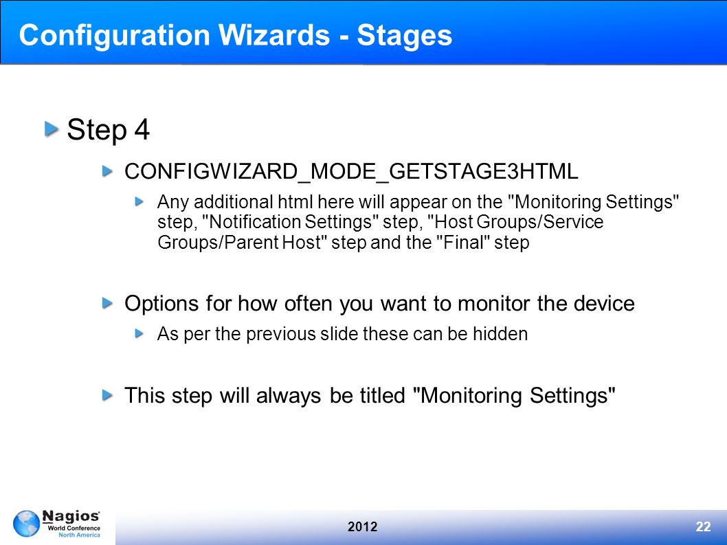 201222 Configuration Wizards - Stages Step 4 CONFIGWIZARD_MODE_GETSTAGE3HTML Any additional html here will appear on the