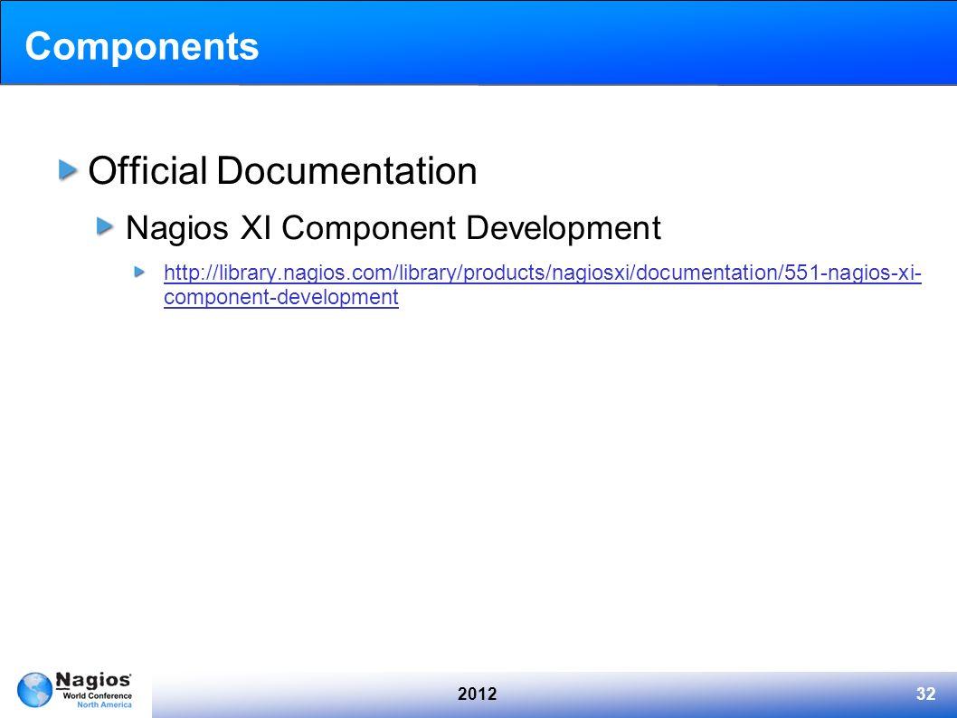 201232 Components Official Documentation Nagios XI Component Development http://library.nagios.com/library/products/nagiosxi/documentation/551-nagios-