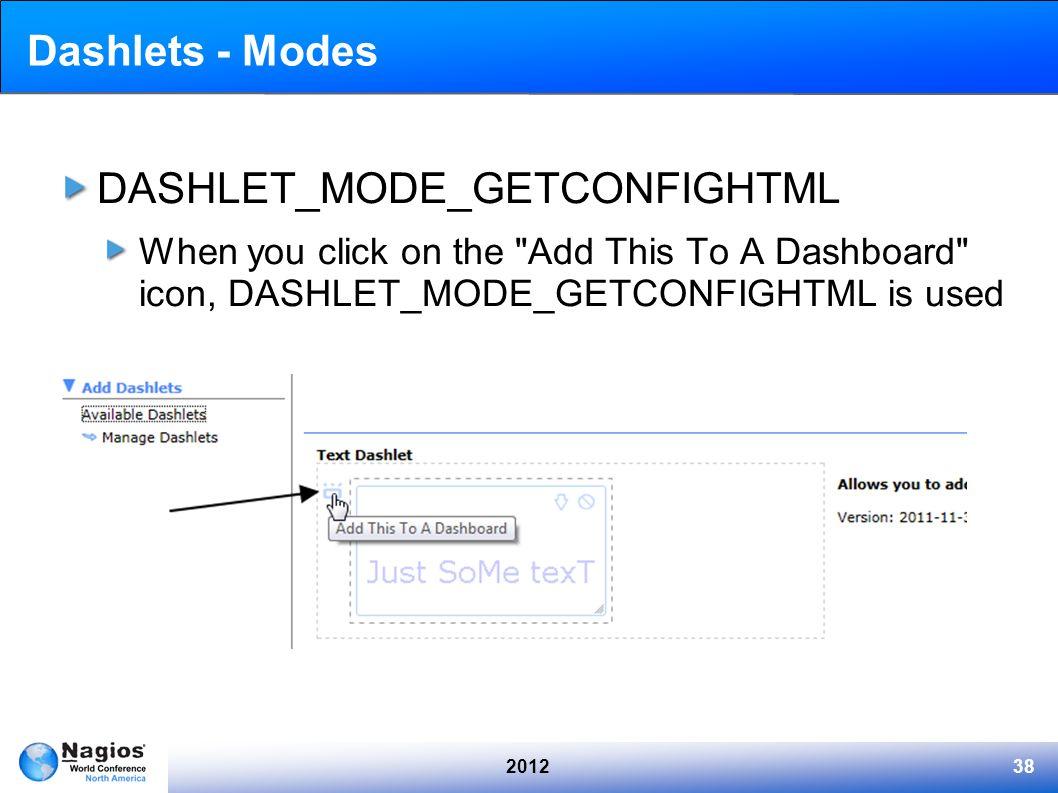 201238 Dashlets - Modes DASHLET_MODE_GETCONFIGHTML When you click on the