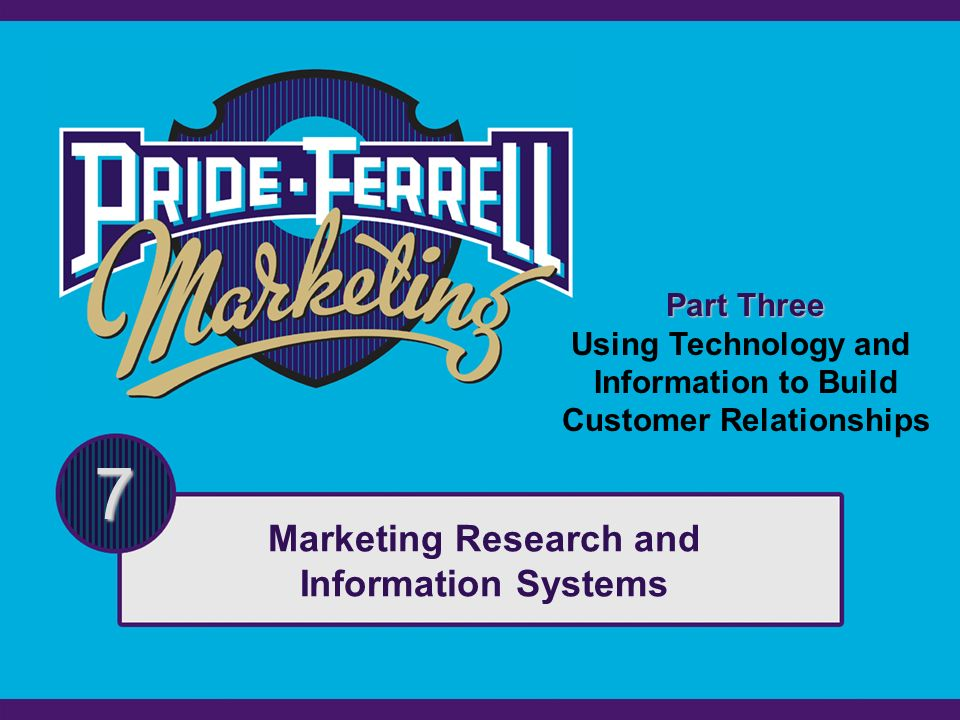 Part Three Using Technology and Information to Build Customer Relationships 7 Marketing Research and Information Systems