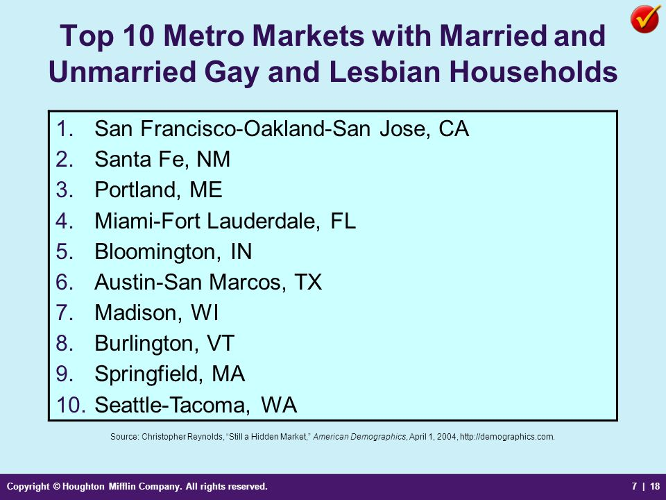 Copyright © Houghton Mifflin Company. All rights reserved.7 | 18 Top 10 Metro Markets with Married and Unmarried Gay and Lesbian Households Source: Ch