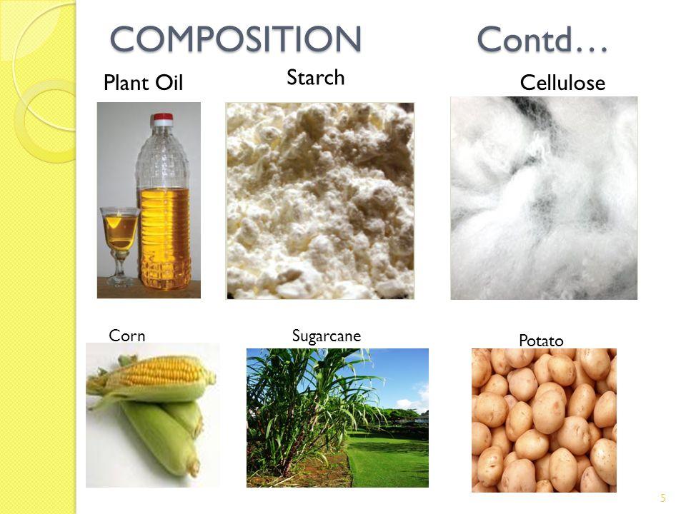 COMPOSITION Contd… Plant Oil Starch Cellulose CornSugarcane Potato 5