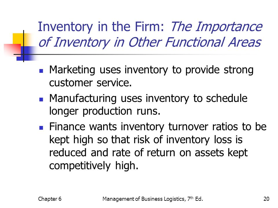 Chapter 6Management of Business Logistics, 7 th Ed.20 Inventory in the Firm: The Importance of Inventory in Other Functional Areas Marketing uses inve