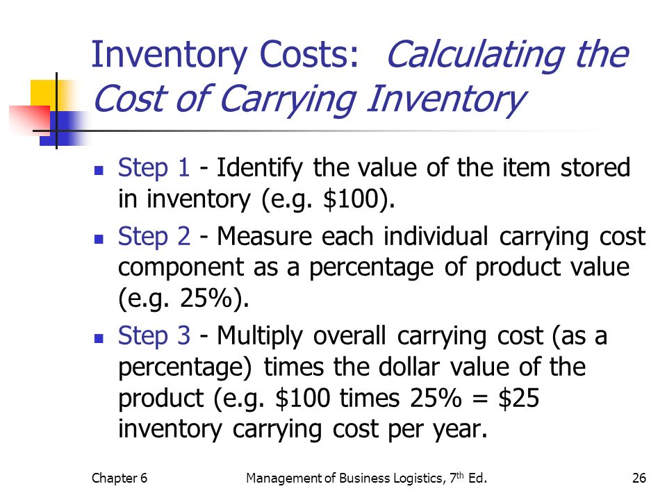 Chapter 6Management of Business Logistics, 7 th Ed.26 Inventory Costs: Calculating the Cost of Carrying Inventory Step 1 - Identify the value of the i