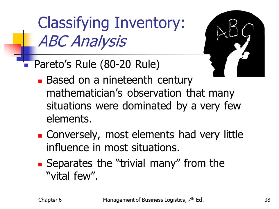 Chapter 6Management of Business Logistics, 7 th Ed.38 Classifying Inventory: ABC Analysis Paretos Rule (80-20 Rule) Based on a nineteenth century math