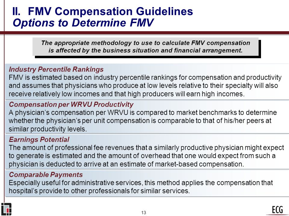 12 II. FMV Compensation Guidelines Overview n Ultimately, fair market value is determined based on facts and circumstances. The appropriate method wil