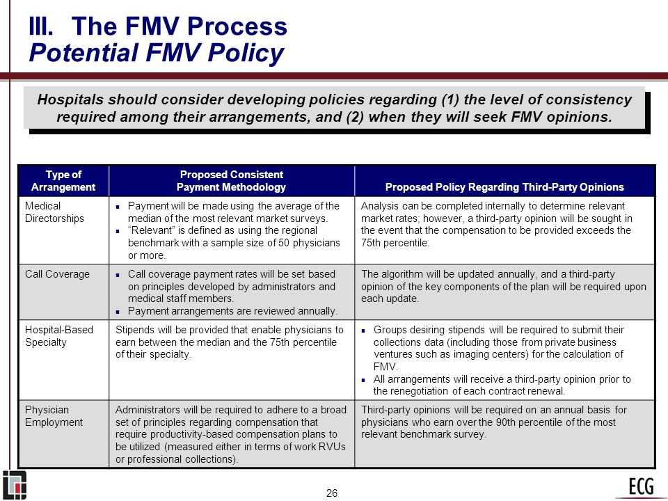 25 III. The FMV Process When Do You Need a Third-Party Opinion? n All hospital contracts should be maintained in files that also provide FMV justifica