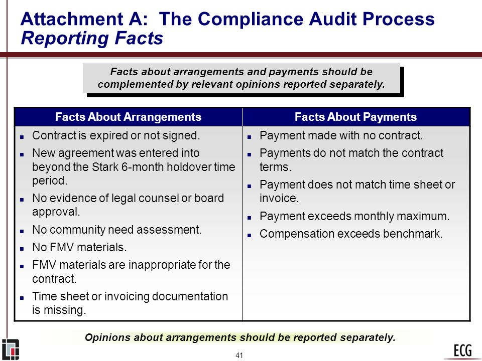 40 Attachment A: The Compliance Audit Process Matching Payments to Contracts Payments that do not cross-reference with contracts are researched manual