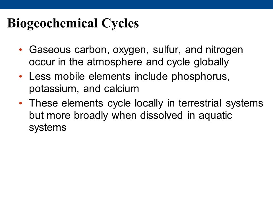 Biogeochemical Cycles Gaseous carbon, oxygen, sulfur, and nitrogen occur in the atmosphere and cycle globally Less mobile elements include phosphorus, potassium, and calcium These elements cycle locally in terrestrial systems but more broadly when dissolved in aquatic systems