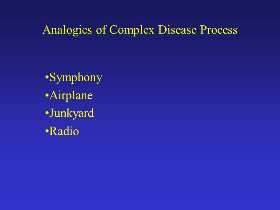 Analogies of Complex Disease Process Symphony Airplane Junkyard Radio