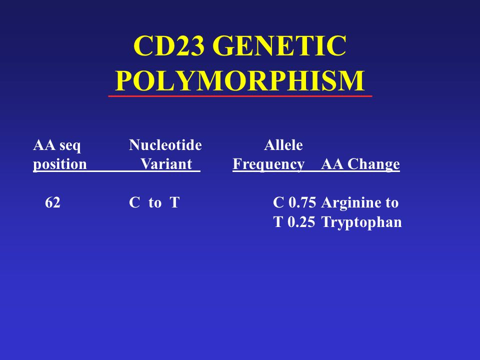 CD23 GENETIC POLYMORPHISM AA seqNucleotide Allele position Variant FrequencyAA Change 62 C to TC 0.75Arginine to T 0.25Tryptophan