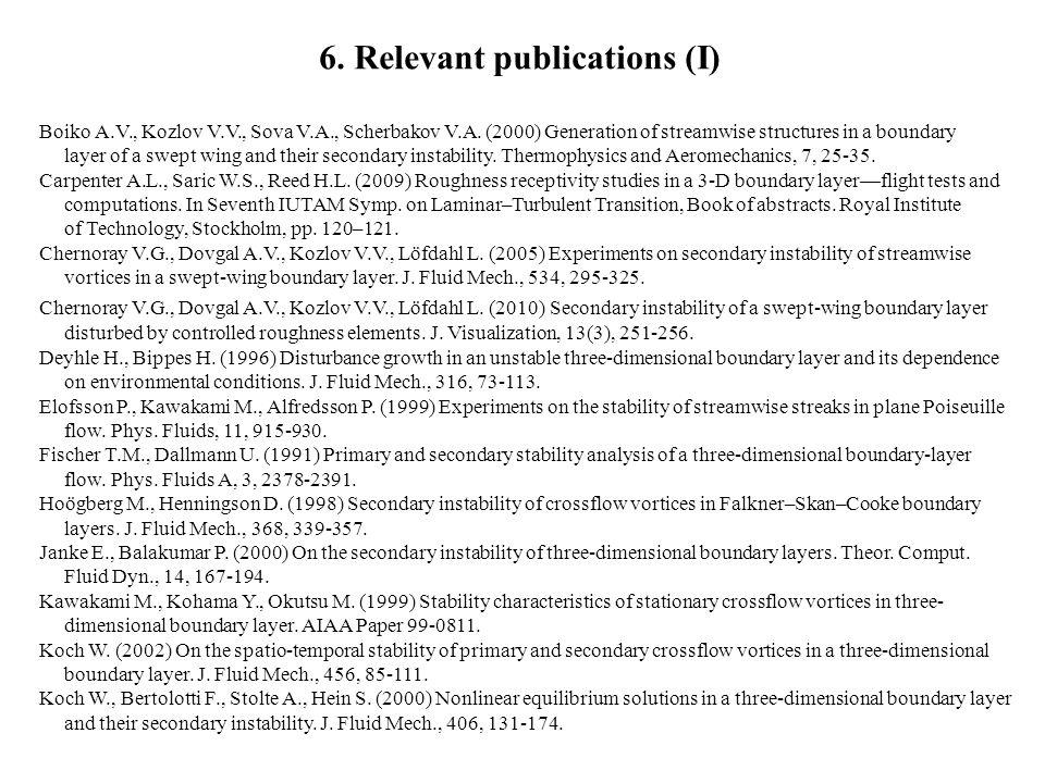 6. Relevant publications (I) Boiko A.V., Kozlov V.V., Sova V.A., Scherbakov V.A.