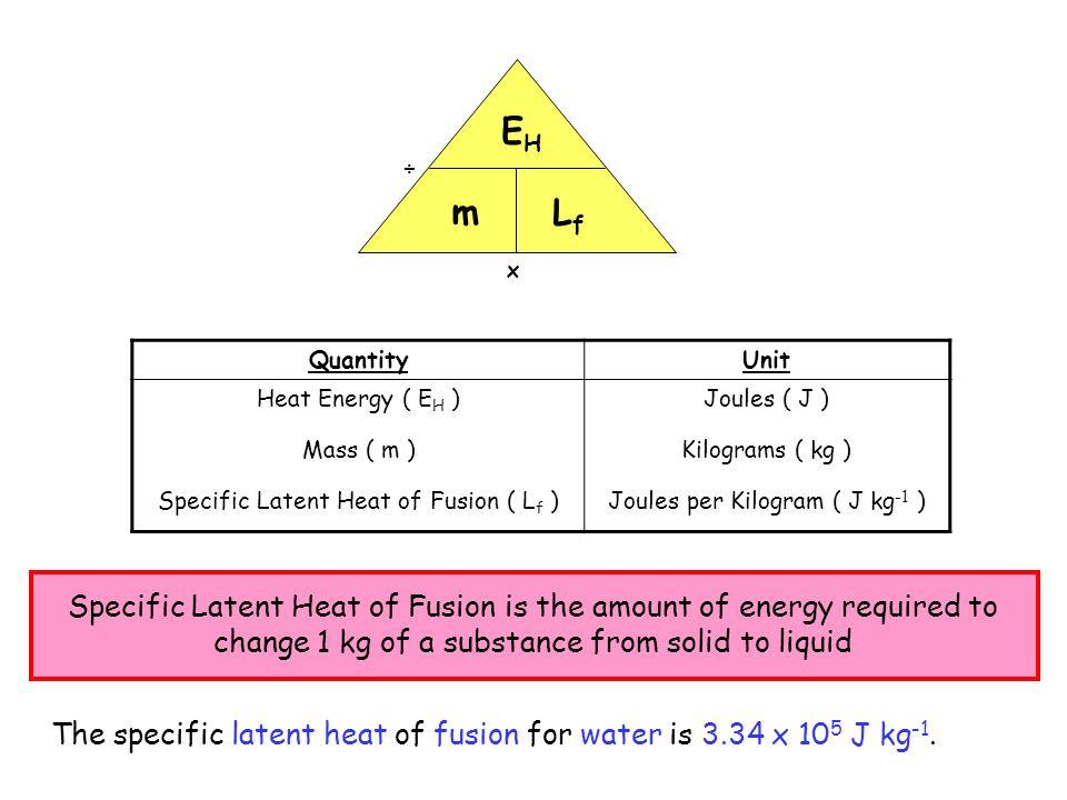 QuantityUnit Heat Energy ( E H ) Mass ( m ) Specific Latent Heat of Fusion ( L f ) Joules ( J ) Kilograms ( kg ) Joules per Kilogram ( J kg -1 ) x ÷ E