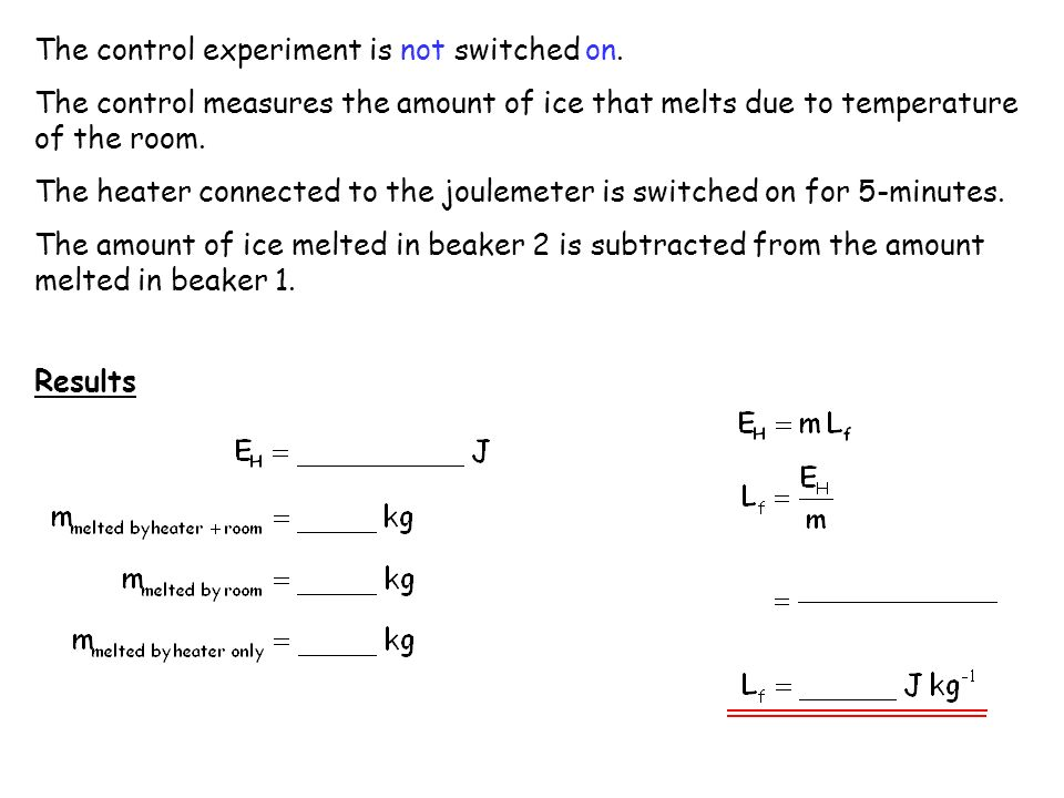 The control experiment is not switched on. The control measures the amount of ice that melts due to temperature of the room. The heater connected to t